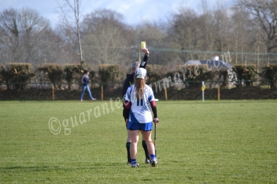 Kate McMahon receives a yellow card